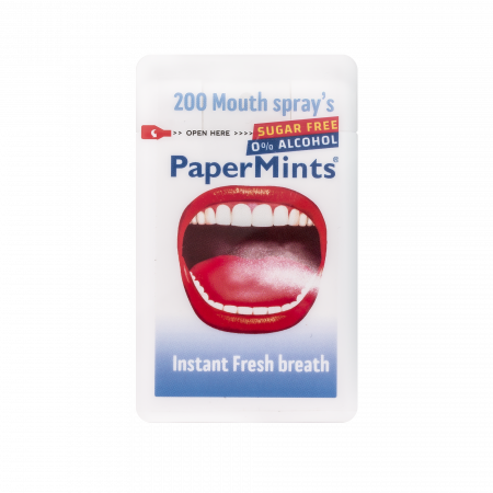 """Good breath guarantee with the """"Papermints"""" mouth sprays ! without any alcohol and sugar free..The perfect solution for smokers, after a drink or a meal"""